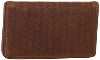 Tommy Bahama Men's Basketweave Emboss Business Card Case, Brown, One Size