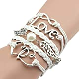 Susenstone Style Jewelry fashion Leather Cute Infinity Charm Bracelet