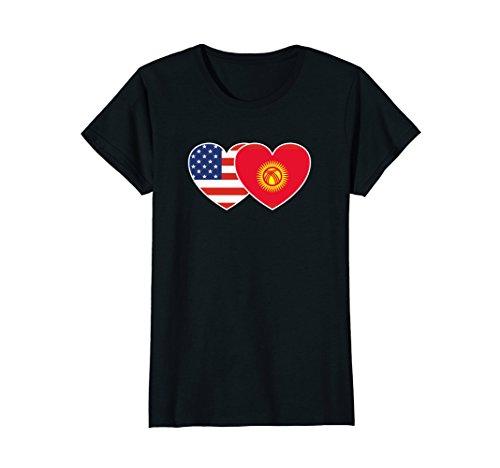 Womens Kyrgyzstan USA Flag Twin Heart T Shirt for Kyrgyz Americans Large Black