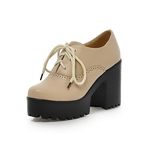 VogueZone009 Damen Rund Zehe Hoher Absatz Rein Weiches MaterialSchnüren Pumps Schuhe Cremefarben