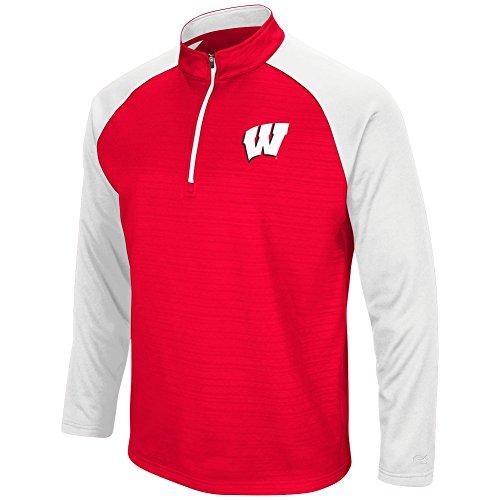 Colosseum Men's NCAA-Setter 1/4 Zip Fleece Pullover-Wisconsin Badgers-Red-XXL (Badgers Pullover Wisconsin)