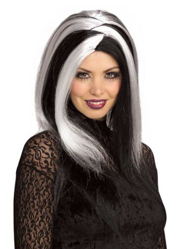 Black Vampire Wig - Sinister Stripes White/Black Adult Wig (White/Black;One Size)