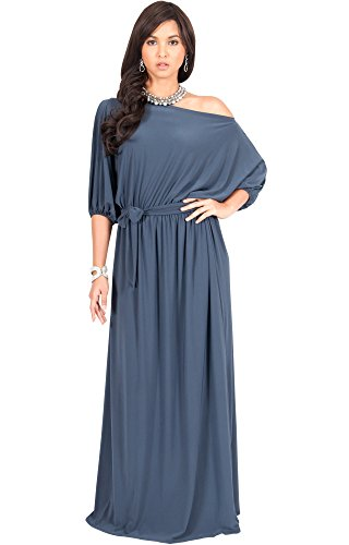 KOH KOH Plus Size Women Long Sexy One Off Shoulder Flowy Casual 3/4 Short Sleeve Cocktail Wedding Party Guest Maternity Gown Gowns Maxi Dress Dresses, Slate Gray 4 X 26-28 (3)