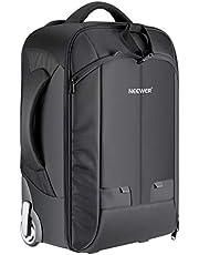 Neewer 2-in-1 camerarugzak, bagagetrolley met dubbele stang, afneembaar gevoerd vak voor spiegelreflex-/DSLR-camera's, statief objectief en andere accessoires (zwart/grijs)