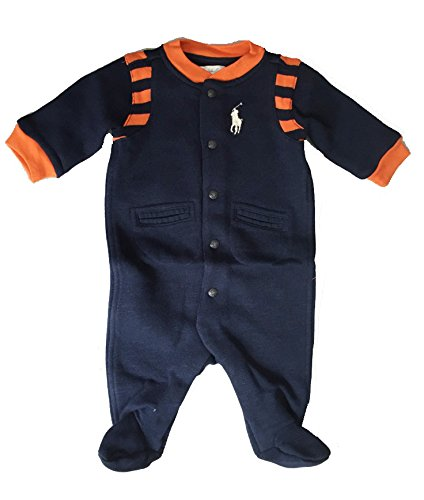 - Ralph Lauren Baby Boys' Cotton-Blend-Fleece Coverall- Oxford Navy (nb)