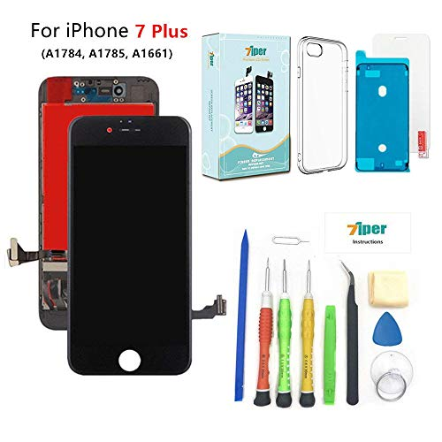Screen Replacement for iPhone 7 Plus (5.5 inch) - 3D Touch LCD Complete Repair Kits -LCD Touch Digitizer Display Glass Replacement - Free Cover, Tempered Glass, Tools, Instruction (Black)