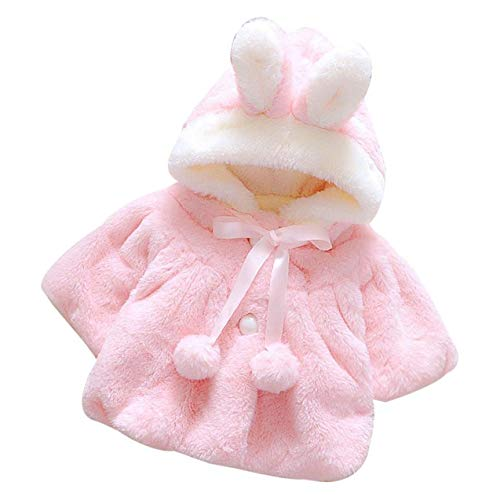 Culturemart Cartoon Bunny Ear Set Baby Girl Winter Thick Jacket Lace Pink Jacket Winter Warm Jacket Cloak Jacket Ropa de nia