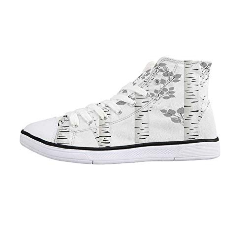 Birch Tree Comfortable High Top Canvas Shoes,Artistic White Branches with Leaves Autumn Nature Forest Inspired Image Print Decorative for Women Girls,US 6
