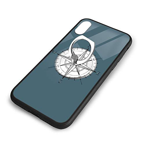 iPhone X Plus Cover Compass Clip Art Case with Finger Ring Stand XS Phone Kickstand Holder Shock Protective Basic Protector]()