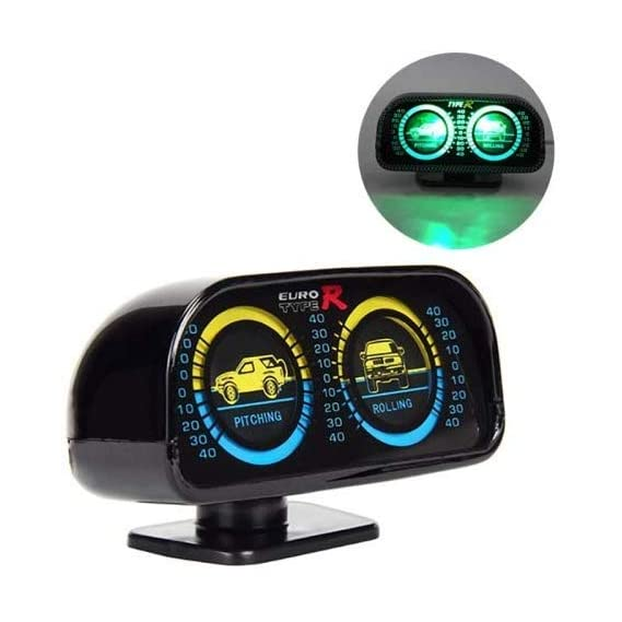 Jeep Boutique, Car Inclinometer with Light, Slope Measure Inclination Vehicle Compass, Speedometer Tacho Gauge (Pitching & Rolling)