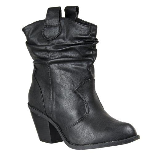 Bamboe Dames Latisha Western-style Mode Laarzen Zwart