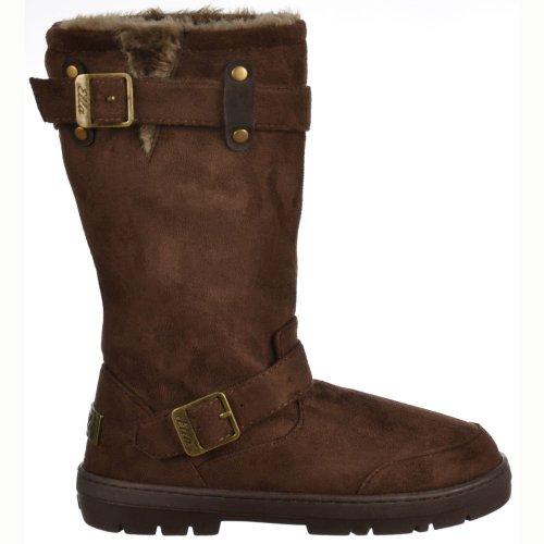 Ladies Womens Ella Biker Fur Lined Flat Winter Snow Boot - Chestnut Brown, Black, Dark Brown, Grey Brown UK3 - EU36 - US5 - AU4