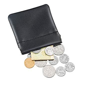 SHILFID Squeeze Coin Purse Pouch Change Wallet Holder for Men & Women for Airpods Earphone Bag Handmade Leather, Black (Black) - SHILFIDCP005