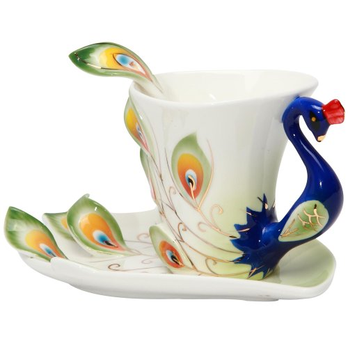 Green Elegant Handpainted Peacock Sculpted Decorative Porcelain Tea Coffee Cup and Saucer Set with Spoon