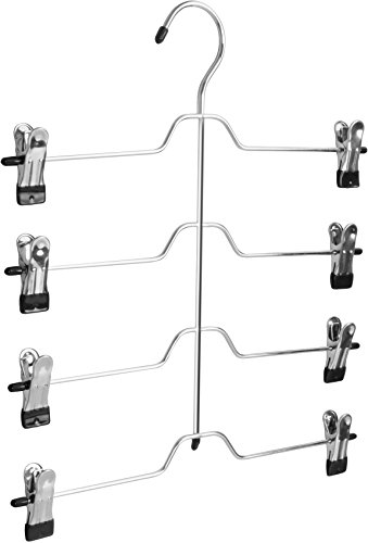 Pack of 3 Multi Clip Hanger - Four Layer with Eight Clips - Metal Construction with Sleek Chrome Finish - Vinyl Tips - by Utopia Home
