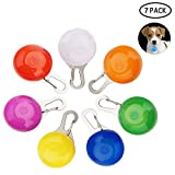 Dog Led Pendant, AUOKER 7 Pack Clip-On Dogs Collar Light for Pets Dog Cat Hamster Rabbit Safety Night Walking & Anti-Lost, Flashing Waterproof Led Dog Collar, ID Tags/Carabiner/Keychain Light (Set)