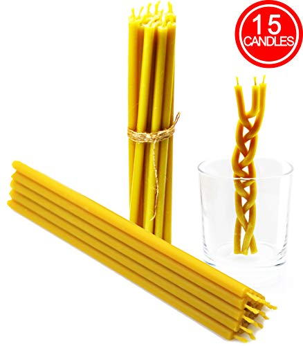 MHH Natural Beeswax Candles Pure deep Yellow bee Wax with Great Honey Scent and Cotton Wicks, Eco-Friendly tapers for Decoration Parties Birthday Cake Toppers Honey Aroma 7