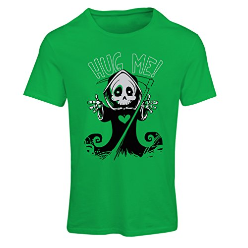 T Shirts for Women The Death is Coming! Halloween Skeleton Clothes, Evil Skull Sickle (Medium Green Multi Color)