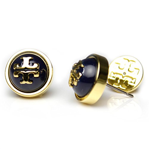 Tory Burch Melodie Pearl Logo Stud Fashion Dome Earrings TB Logo Studs (Royal - Rings Burch Tory