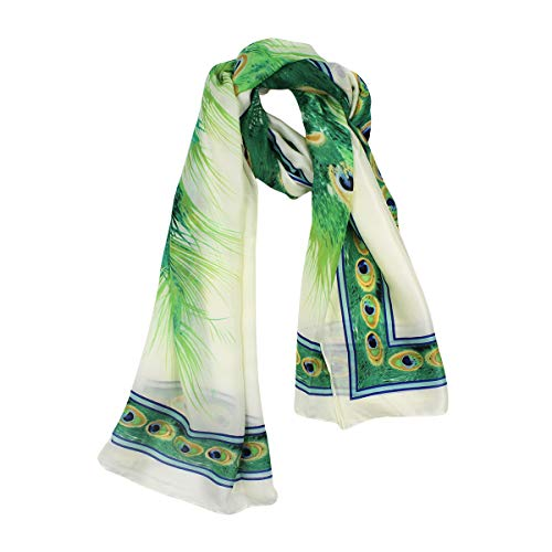 Women Silk Scarf Long Large Peacock Feather Prints Wrap Shawl Scarves Headscarf