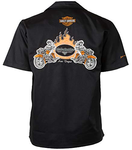 - Harley-Davidson Las Vegas Babes Bikes Flames Work Shirt (L)