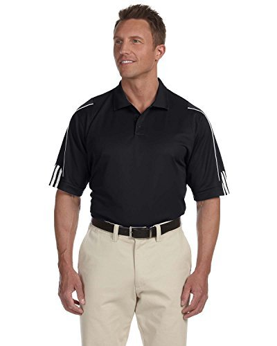 adidas Golf Mens Climalite 3-Stripes Cuff Polo (A76) -Black/Whit ()