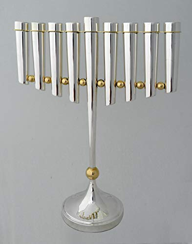 Modern Handmade 925 Sterling silver Large size Hanukkah Menorah with decorative brass ornament, Contemporary Judaica art,Jewish decor art, Made in Israel by Nadav Art Brass Hanukkah Lamp Menorah