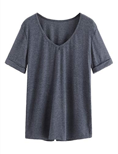 (SheIn Women's Summer Short Sleeve Loose Casual Tee T-Shirt Dark Blue#1 X-Small)