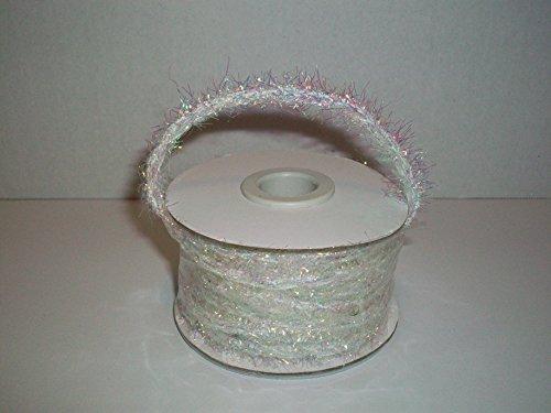 (Tinsel Wired Ribbon Christmas Decoration Ribbon Gift Wrapping Ribbon (White/Iridescent))