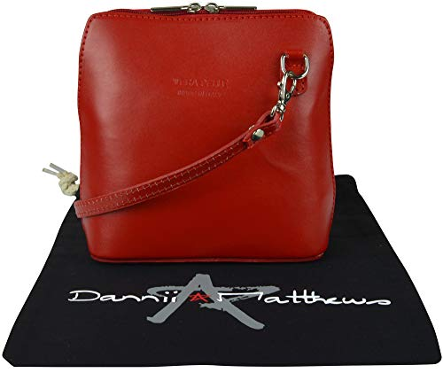 Includes Bag Leather Cross Italian Storage Red Body Hand Protective Shoulder Made Branded Small Handbag a OZnn8qd