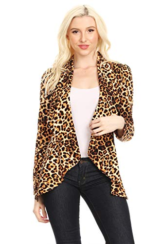 Solid Print Casual Long Sleeves Stretch Open Front Blazer Jacket/Made in USA Animal Brown L ()