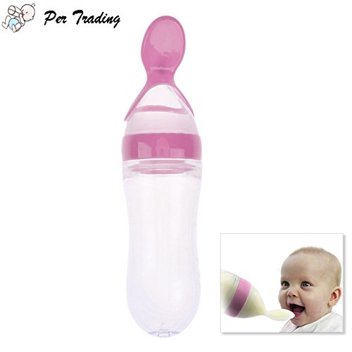Cereal bottles for babies amazon per 90ml silicone squeeze style rice cereal bottle squeeze feeder with a spoon newborn toddler infant food supplementpink ccuart Image collections