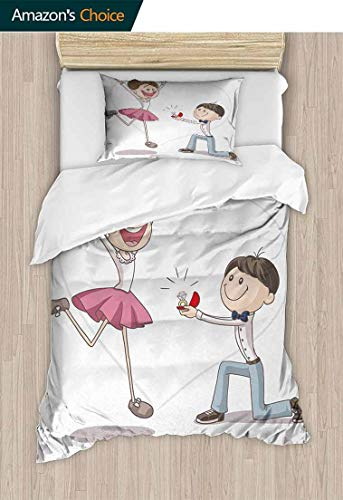 Temox Engagement Party Print Comforter Quilt Set, Celebration Cartoon of Love Valentines Couple with Wedding Ring, with 1 Pillowcase for Kids Bedding,59 W x 78 L Inches, Pink Blue and White