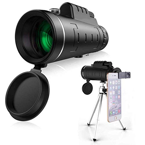 Monocular 40X60 HD with Universal Mobile Phone Holder Video Recording Low Light Night Vision Waterproof Mirror Range 4600 to 10000 Yards - BAK4 Prism FMC
