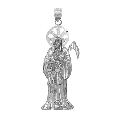 Fine 925 Sterling Silver Santa Muerte Necklace Pendant by Saint Collection (Image #2)