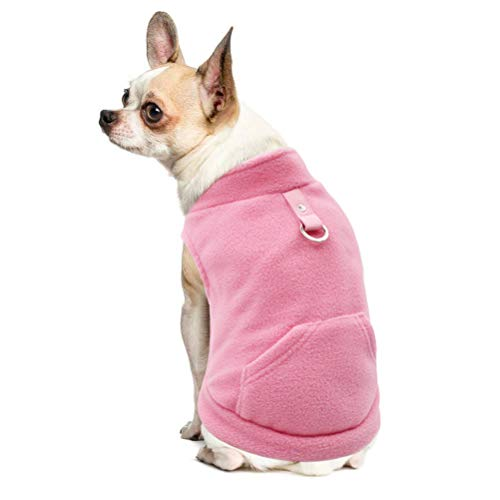 EXPAWLORER Fleece Autumn Winter Cold Weather Dog Vest Harness Clothes with Pocket, Light Pink Large