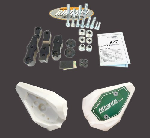 Yamaha TDM 900 2002-2006 RD Moto Crash Frame Sliders Protectors With Full Mounting Kit SL01 Wht/Grn