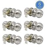 6 Pack Privacy Door Lock Storage Room Bathroom Keyless Lockset Flat Ball Set, Brushed Satin Nickel