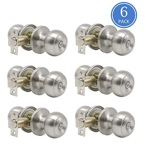 6 Pack Privacy Door Lock Storage Room Bathroom Keyless Lockset Flat Ball Set, Brushed Satin Nickel ()
