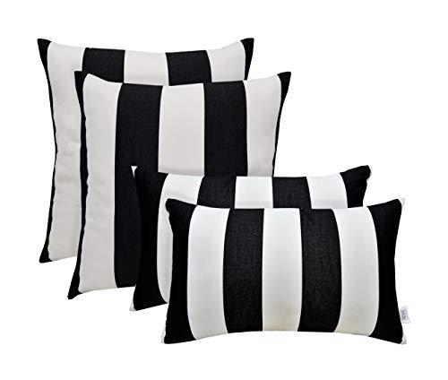 RSH Décor Set of 4 Indoor/Outdoor Square & Rectangle Lumbar Throw Pillows Made of Sunbrella Cabana Classic (20