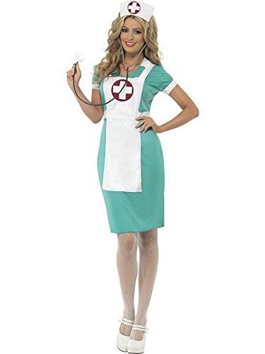 Smiffys Women's Scrub Nurse Costume, Dress, Mock Apron and Headpiece, Accident and Emergency, Serious Fun, Size 10-12, -
