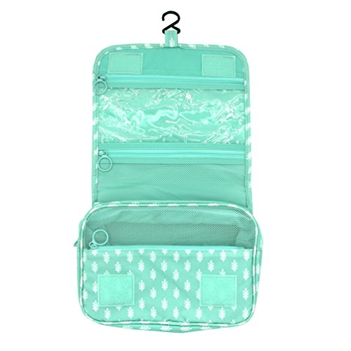 Itraveller Hanging Toiletry Bag-Portable Travel Organizer Cosmetic Make up Bag case for Women Kit with Hanging Hook for vacation (Green Leaves)