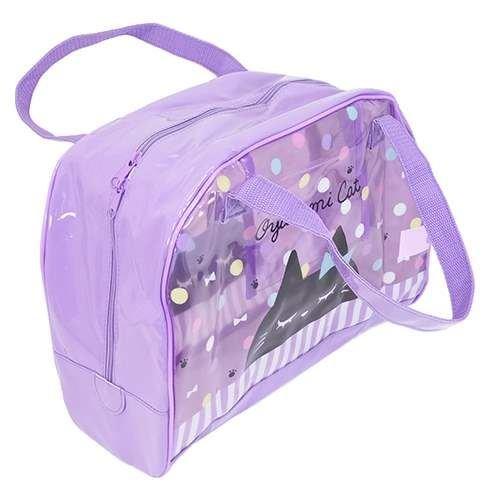 Lindo bolso con asas violeta transparente gato lunares colores de Japón Lindo bolso con asas violeta transparente gato lunares colores de Japón