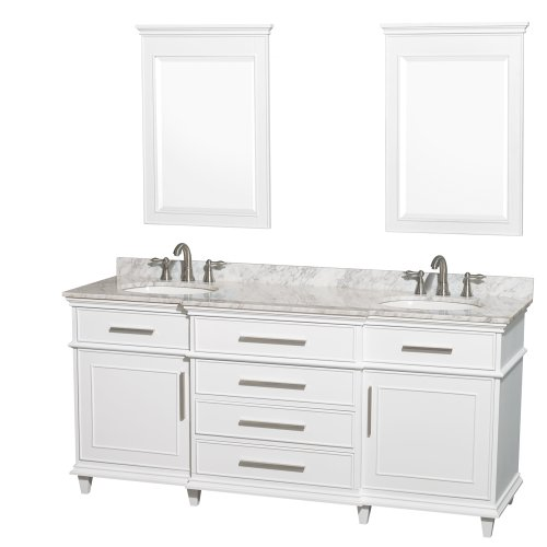 Berkeley Bathroom Vanity - Wyndham Collection Berkeley 72 inch Double Bathroom Vanity in White with White Carrera Marble Top with White Undermount Oval Sinks and 24 inch Mirrors