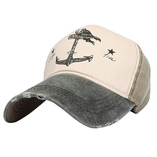 WITHMOONS Rugged Style Anchor Printing Nautical Baseball Cap KZ10034 (Grey) ()