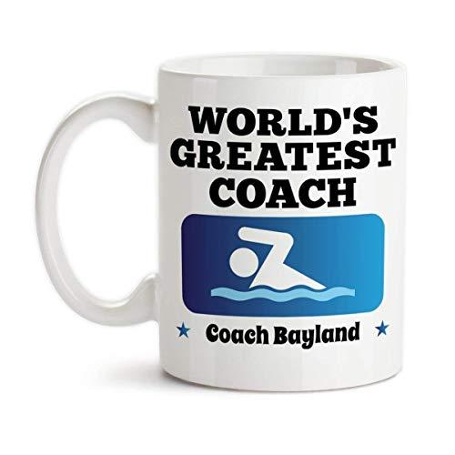 Personalized Worlds Greatest Swim Coach Monogrammed Ceramic Coffee Mug