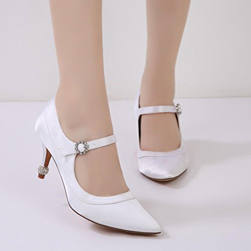 Gatito Talón Boda de Satén Fiesta Casual Boda L Nupcial corte de Zapatos noche Blanco Trabajo Mujeres Cuñas YC Ywqq0zv