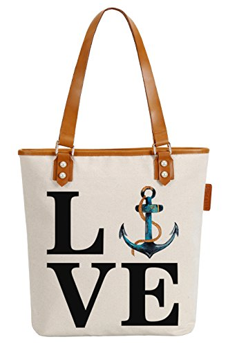 So'each Women's Love Anchor Letters Canvas Tote Pearly Top Handle Shoulder Bag