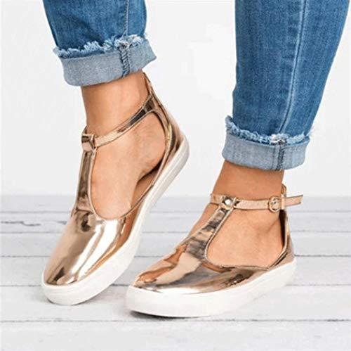 Tacco Scarpe Toe Donne Piatta Donne Scarpe Cinture Piattaforma Rotonda Vintage Oro Sneaker Mocassini Casual Fibbia Xf8xPHq