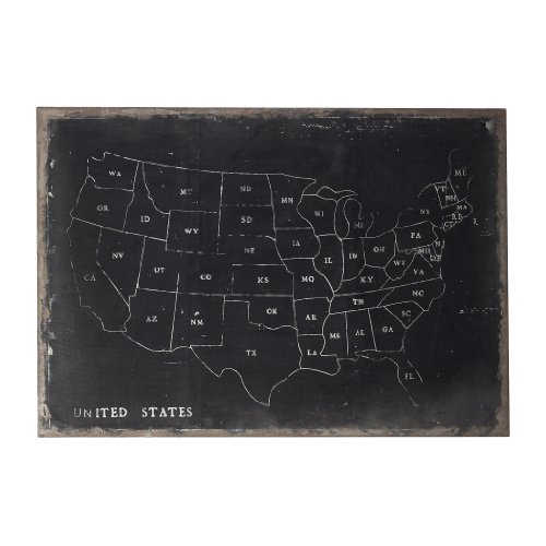 Amazoncom Sterling Chalk Outline Map Of USA On Black Canvas - Us map canvas